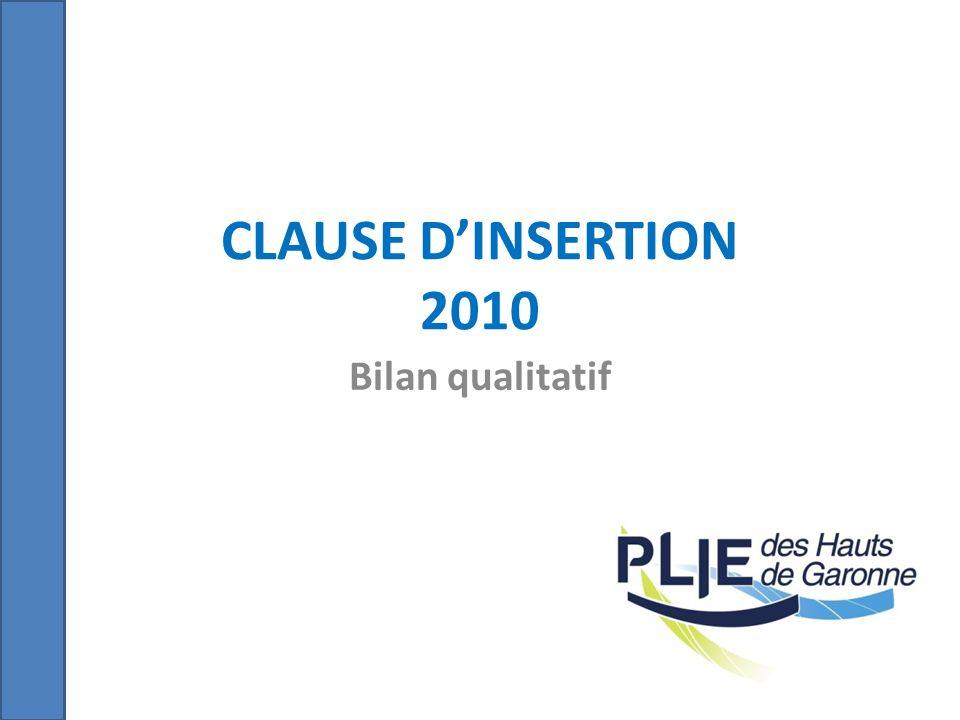 CLAUSE DINSERTION 2010 Bilan qualitatif
