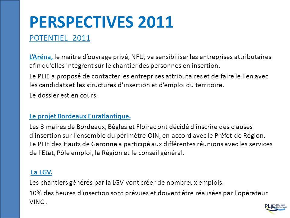 PERSPECTIVES 2011 POTENTIEL 2011 LAréna, le maitre douvrage privé, NFU, va sensibiliser les entreprises attributaires afin quelles intègrent sur le ch