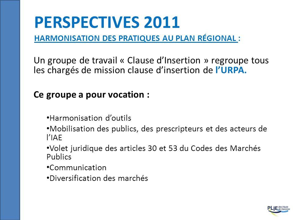 PERSPECTIVES 2011 HARMONISATION DES PRATIQUES AU PLAN RÉGIONAL : Un groupe de travail « Clause dInsertion » regroupe tous les chargés de mission claus