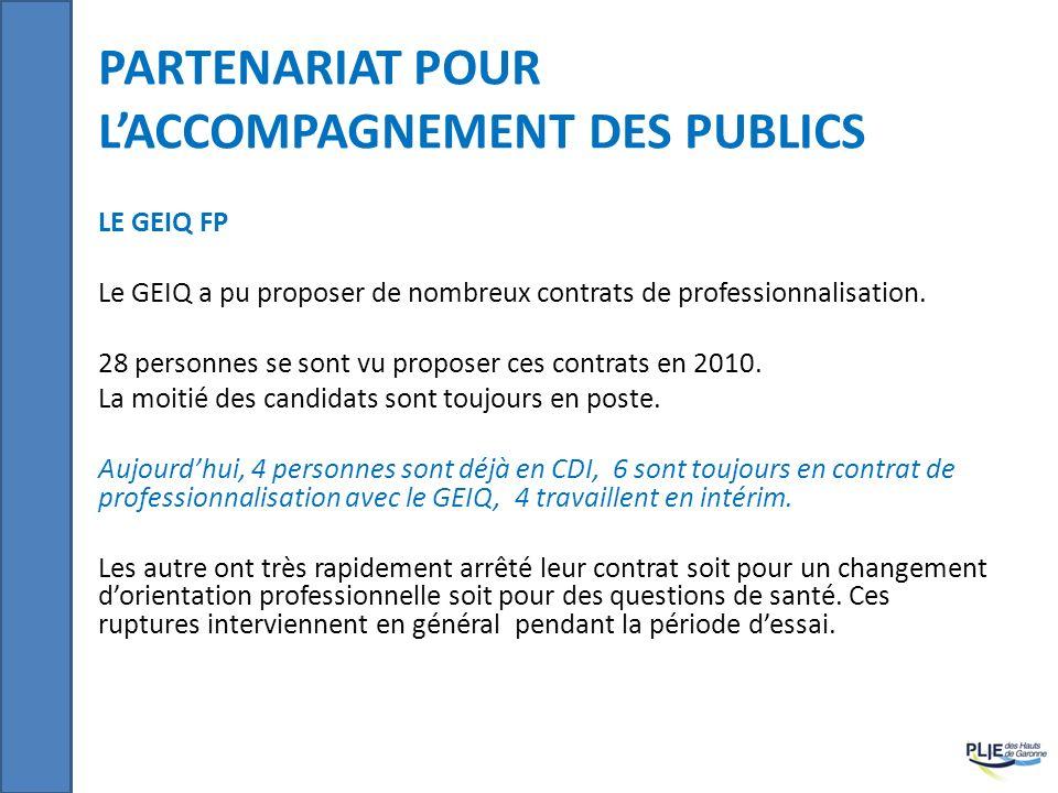 PARTENARIAT POUR LACCOMPAGNEMENT DES PUBLICS LE GEIQ FP Le GEIQ a pu proposer de nombreux contrats de professionnalisation. 28 personnes se sont vu pr
