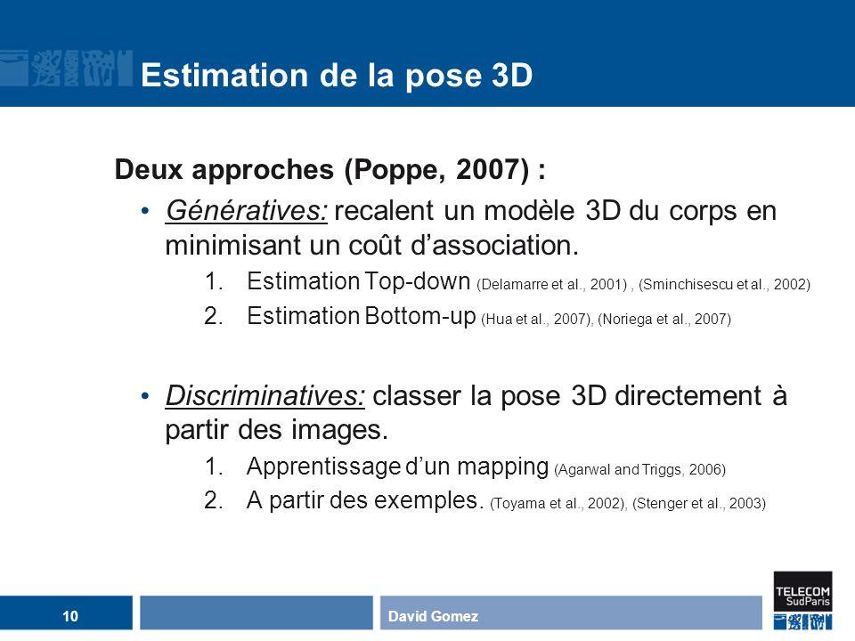 Estimation de la pose 3D Deux approches (Poppe, 2007) : Génératives: recalent un modèle 3D du corps en minimisant un coût dassociation. 1.Estimation T