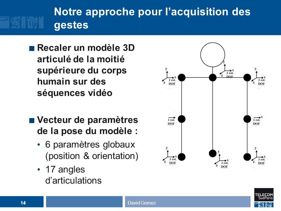 David Gomez14 Notre approche pour lacquisition des gestes Recaler un modèle 3D articulé de la moitié supérieure du corps humain sur des séquences vidé