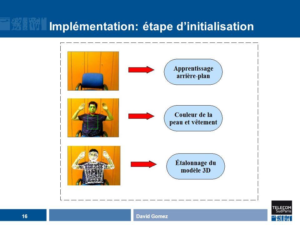 Implémentation: étape dinitialisation David Gomez16