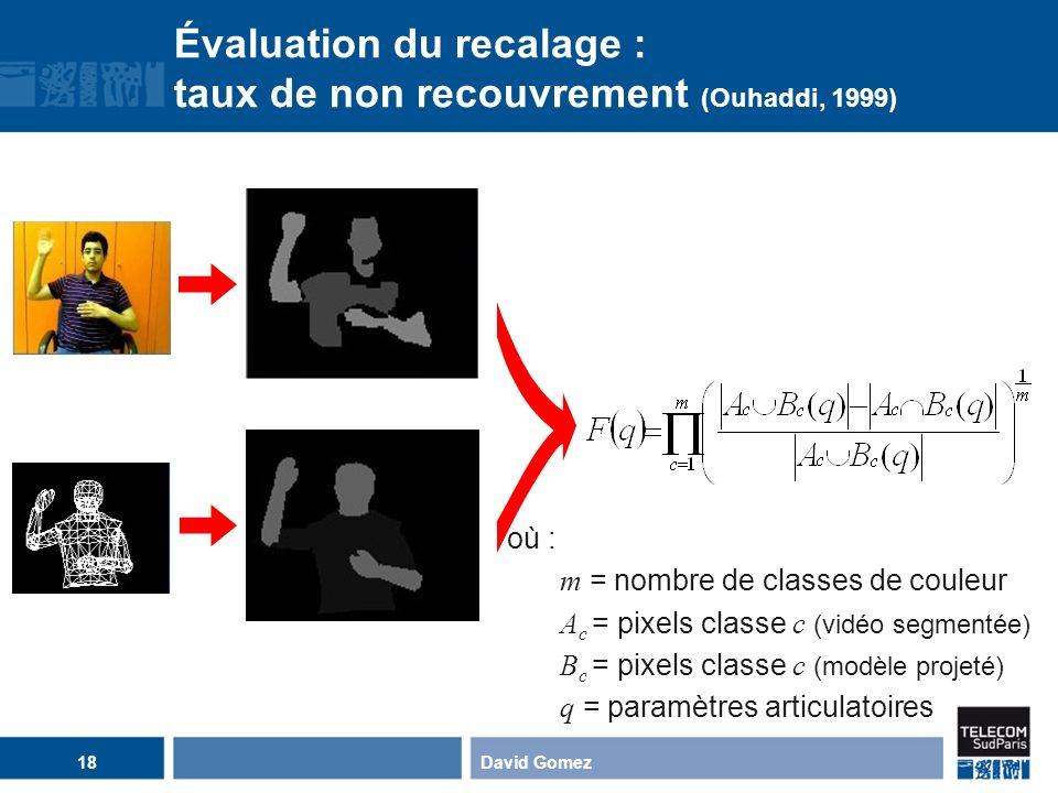 David Gomez18 Évaluation du recalage : taux de non recouvrement (Ouhaddi, 1999) ? où : m = nombre de classes de couleur A c = pixels classe c (vidéo s