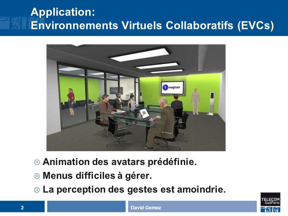 Application: Environnements Virtuels Collaboratifs (EVCs) David Gomez2 Animation des avatars prédéfinie. Menus difficiles à gérer. La perception des g