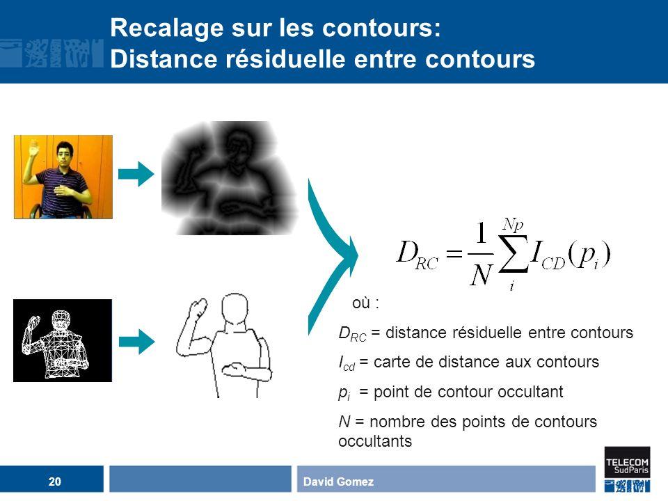 ? Recalage sur les contours: Distance résiduelle entre contours où : D RC = distance résiduelle entre contours I cd = carte de distance aux contours p