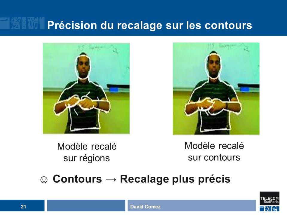 David Gomez21 Précision du recalage sur les contours Contours Recalage plus précis Modèle recalé sur régions Modèle recalé sur contours
