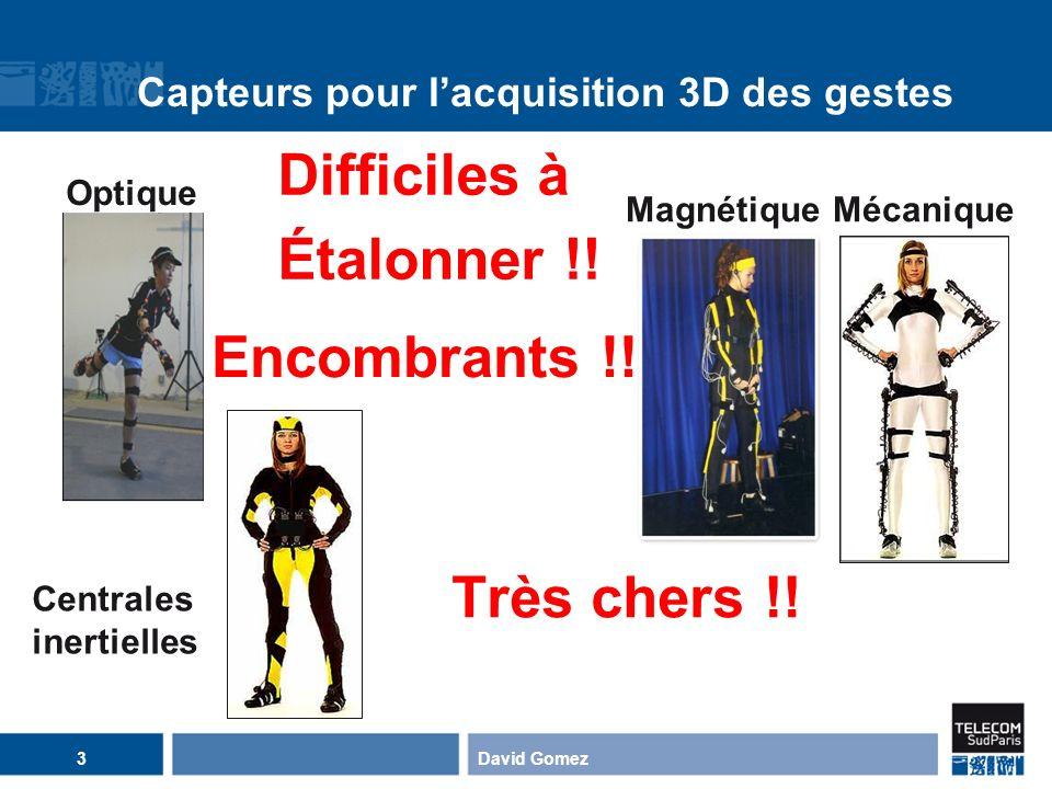 David Gomez14 Notre approche pour lacquisition des gestes Recaler un modèle 3D articulé de la moitié supérieure du corps humain sur des séquences vidéo Vecteur de paramètres de la pose du modèle : 6 paramètres globaux (position & orientation) 17 angles darticulations