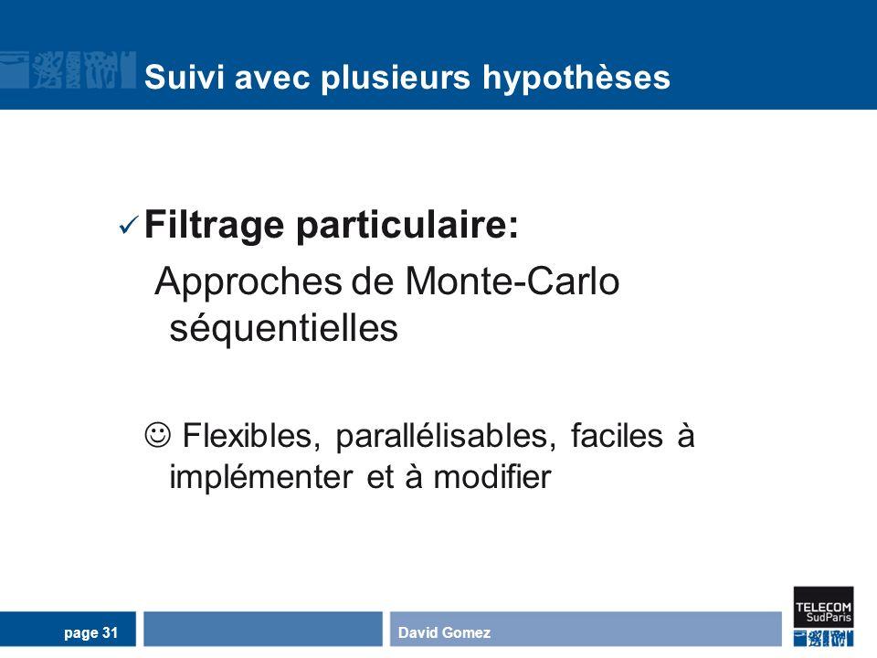 Suivi avec plusieurs hypothèses Filtrage particulaire: Approches de Monte-Carlo séquentielles Flexibles, parallélisables, faciles à implémenter et à m