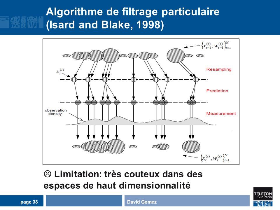 Algorithme de filtrage particulaire (Isard and Blake, 1998) David Gomezpage 33 Limitation: très couteux dans des espaces de haut dimensionnalité