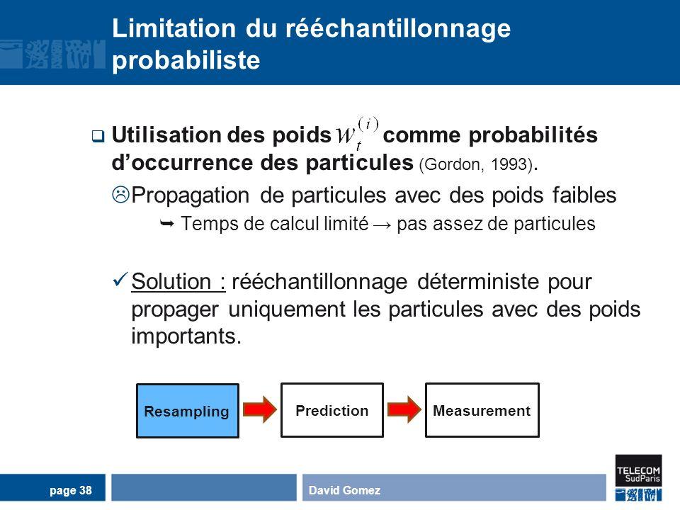 Limitation du rééchantillonnage probabiliste Utilisation des poids comme probabilités doccurrence des particules (Gordon, 1993). Propagation de partic