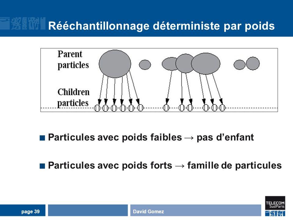 Rééchantillonnage déterministe par poids Particules avec poids faibles pas denfant Particules avec poids forts famille de particules David Gomezpage 3