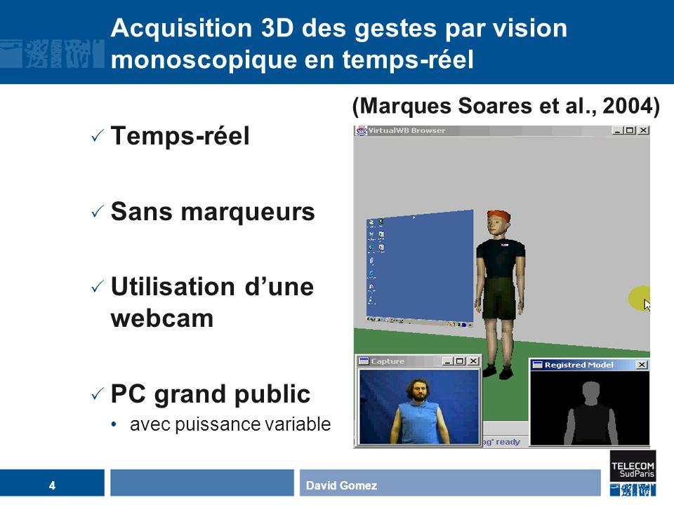 Acquisition 3D des gestes par vision monoscopique en temps-réel Temps-réel Sans marqueurs Utilisation dune webcam PC grand public avec puissance varia