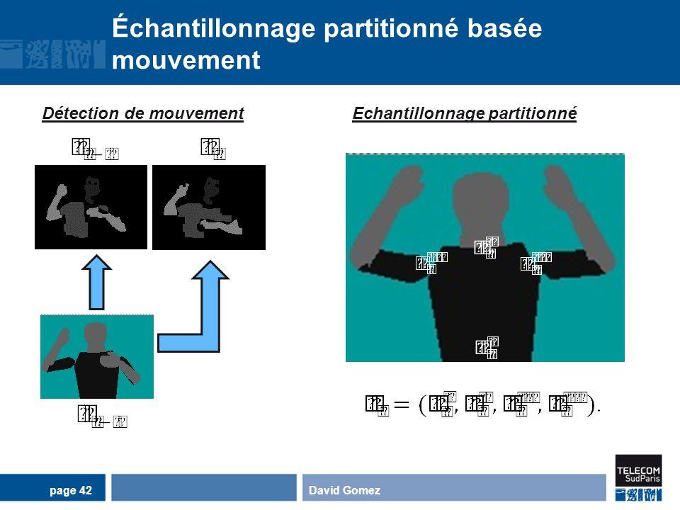 Échantillonnage partitionné basée mouvement David Gomezpage 42 Détection de mouvementEchantillonnage partitionné