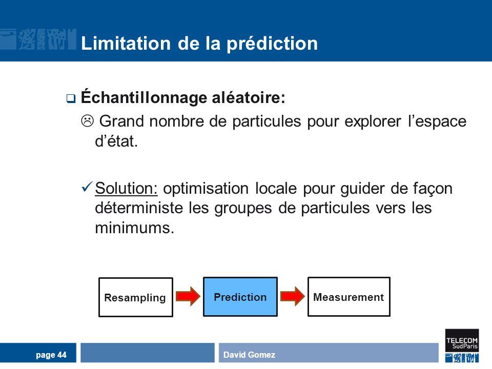 Limitation de la prédiction Échantillonnage aléatoire: Grand nombre de particules pour explorer lespace détat. Solution: optimisation locale pour guid