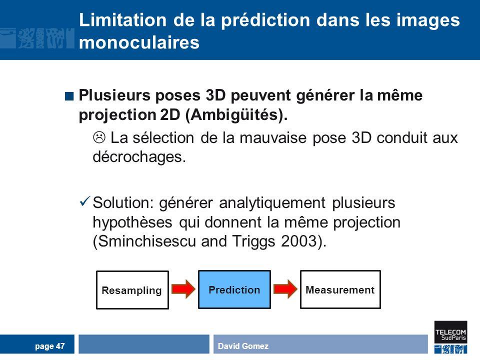 Limitation de la prédiction dans les images monoculaires Plusieurs poses 3D peuvent générer la même projection 2D (Ambigüités). La sélection de la mau