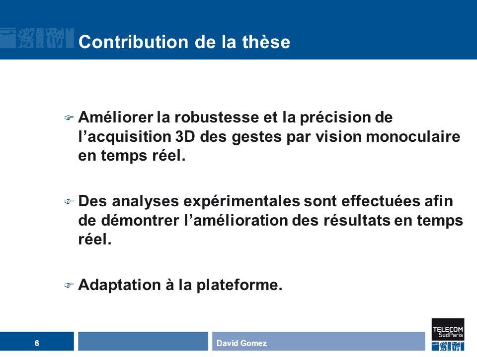 Notre approche du filtrage particulaire pour lacquisition 3D des gestes Limitations des approches antérieures: Eloignées du temps réel.