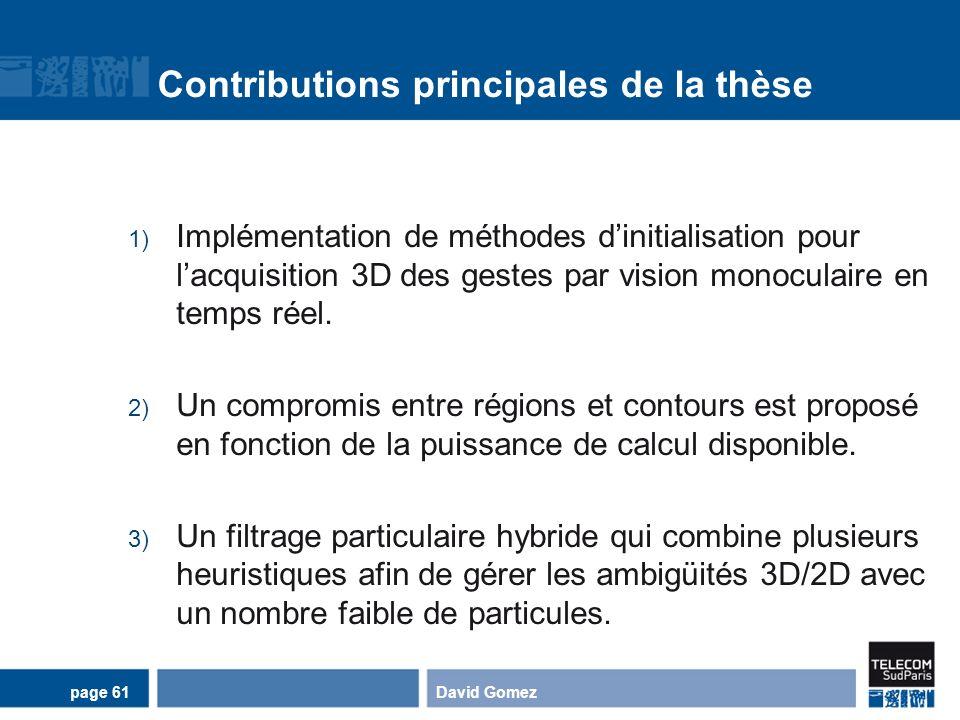 Contributions principales de la thèse 1) Implémentation de méthodes dinitialisation pour lacquisition 3D des gestes par vision monoculaire en temps ré