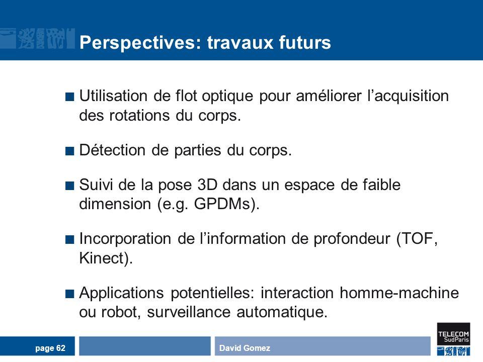 Perspectives: travaux futurs Utilisation de flot optique pour améliorer lacquisition des rotations du corps. Détection de parties du corps. Suivi de l
