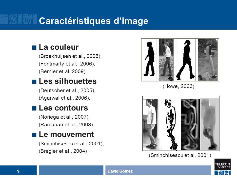 Caractéristiques dimage La couleur (Broekhuijsen et al., 2006), (Fontmarty et al., 2006), (Bernier et al, 2009) Les silhouettes (Deutscher et al., 200