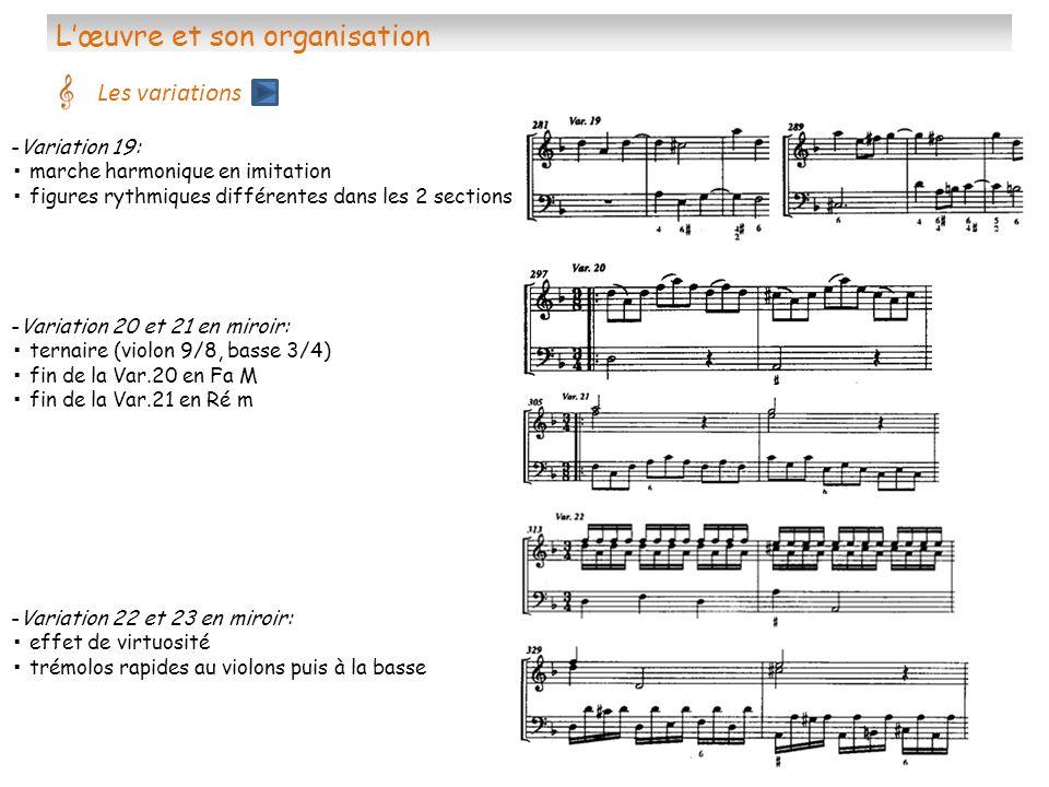 Lœuvre et son organisation Les variations -Variation 19: marche harmonique en imitation figures rythmiques différentes dans les 2 sections -Variation