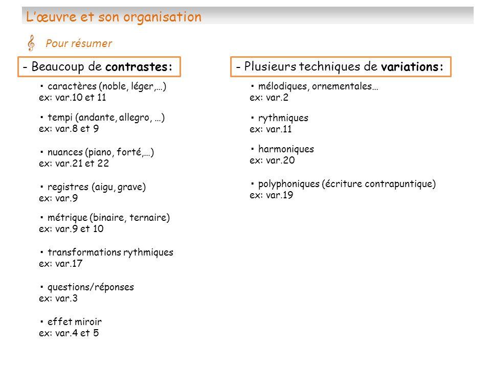 Lœuvre et son organisation Pour résumer métrique (binaire, ternaire) ex: var.9 et 10 polyphoniques (écriture contrapuntique) ex: var.19 effet miroir e