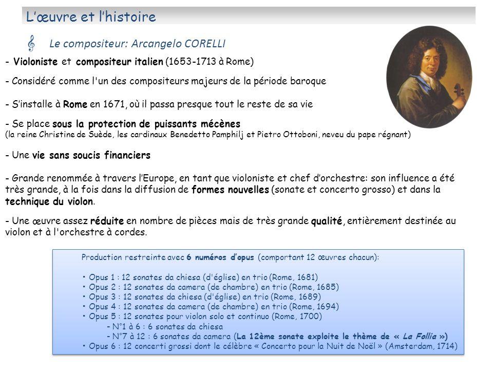 Lœuvre et lhistoire Le compositeur: Arcangelo CORELLI - Violoniste et compositeur italien (1653-1713 à Rome) - Considéré comme l'un des compositeurs m