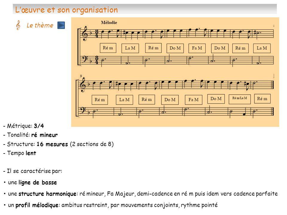Lœuvre et son organisation Les variations Le thème de la follia est suivi de 23 variations -Variation 1: même tempo la basse est une voix contrapunctique doù se dégage le thème -Variation 2: allegro arpèges de croches, ascendants, descendants, brisés au violon -Variation 3: très dynamique, virtuose dialogue entre les voix, imitation -Variation 4 et 5 en miroir: une voix en croches arpégées à lautre des sauts doctave sur temps faible