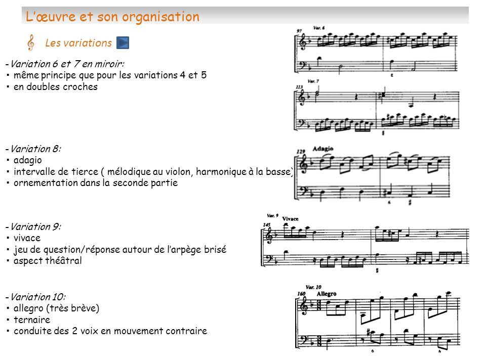 Lœuvre et son organisation Les variations -Variation 9: vivace jeu de question/réponse autour de larpège brisé aspect théâtral -Variation 6 et 7 en mi