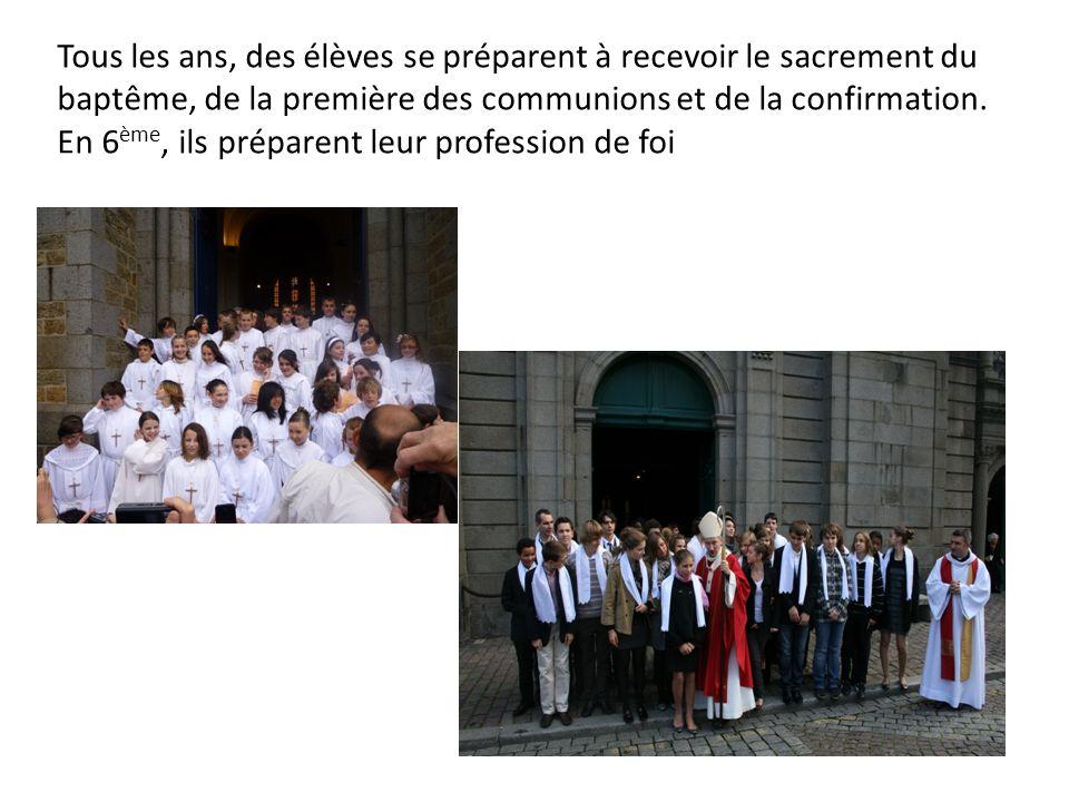 Tous les ans, des élèves se préparent à recevoir le sacrement du baptême, de la première des communions et de la confirmation.