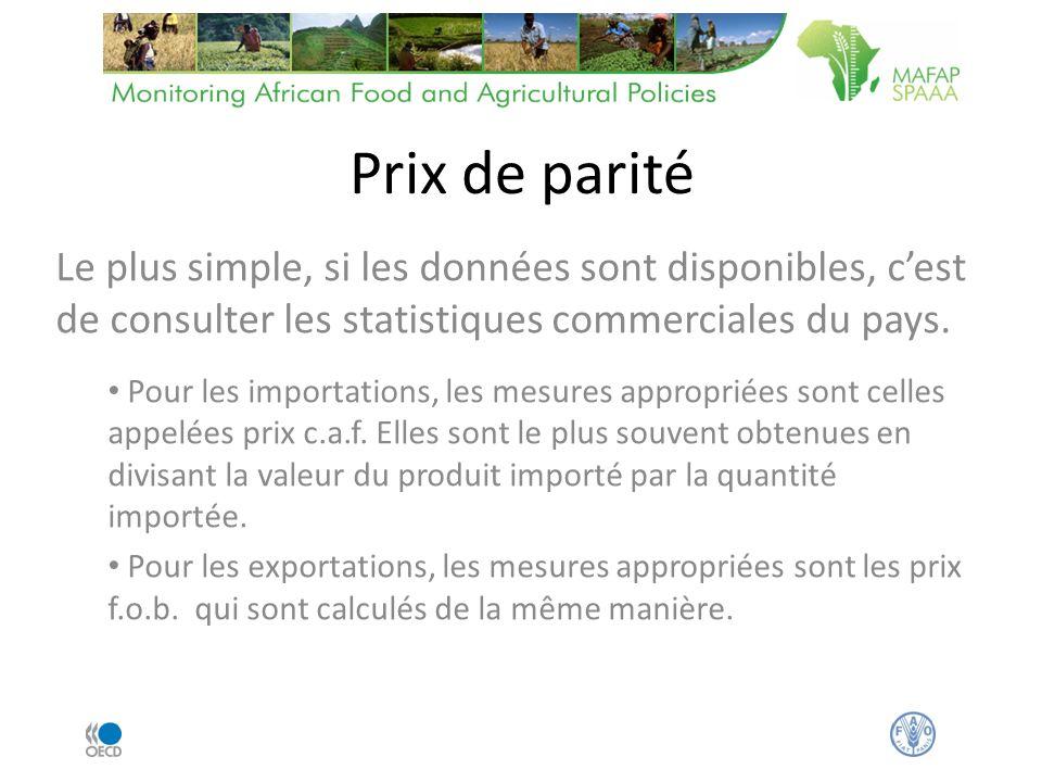Prix de parité Le plus simple, si les données sont disponibles, cest de consulter les statistiques commerciales du pays.