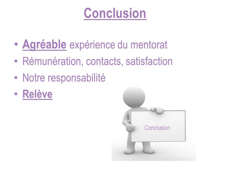 Conclusion Agréable expérience du mentorat Rémunération, contacts, satisfaction Notre responsabilité Relève Conclusion