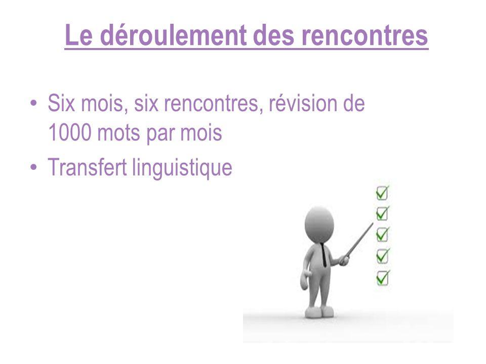 Le déroulement des rencontres Six mois, six rencontres, révision de 1000 mots par mois Transfert linguistique