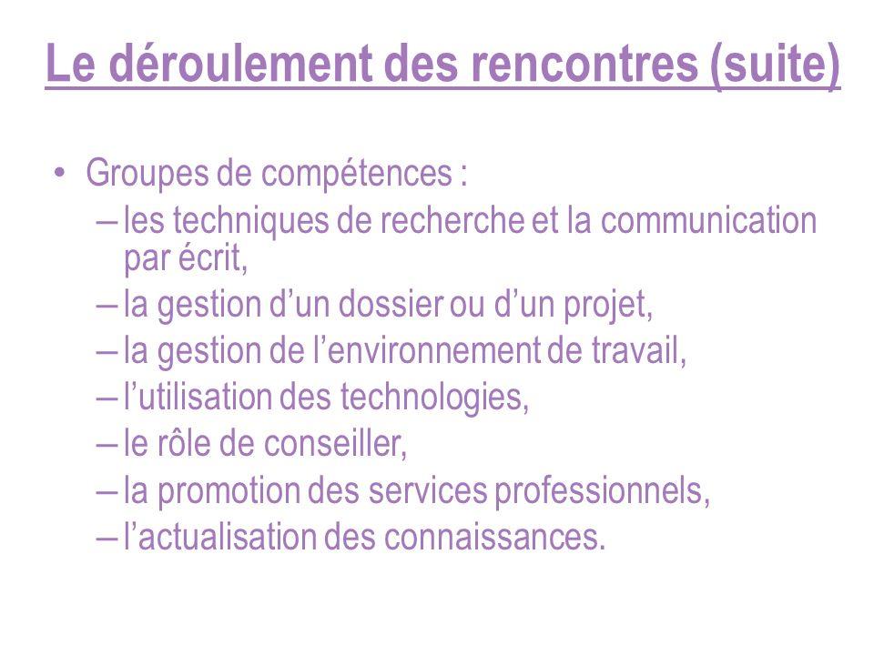 Le déroulement des rencontres (suite) Groupes de compétences : – les techniques de recherche et la communication par écrit, – la gestion dun dossier o