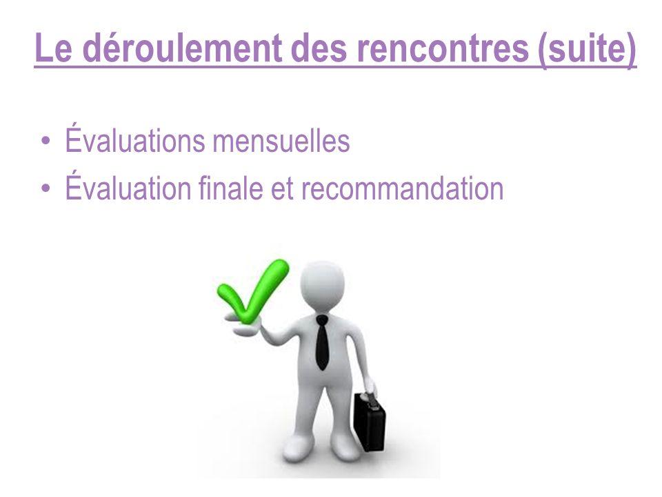 Le déroulement des rencontres (suite) Évaluations mensuelles Évaluation finale et recommandation
