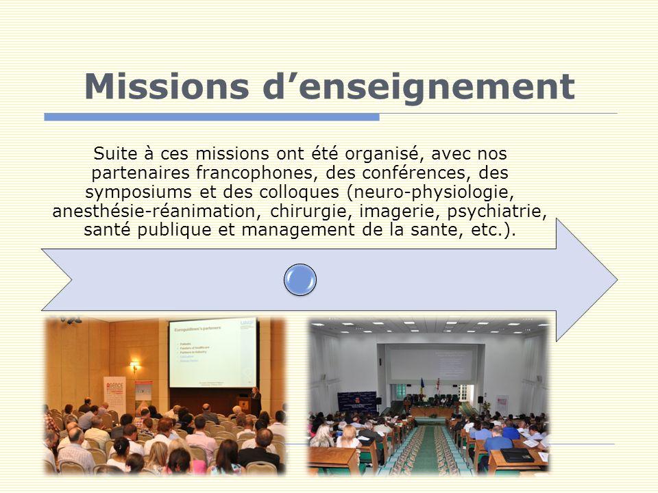 Missions denseignement Suite à ces missions ont été organisé, avec nos partenaires francophones, des conférences, des symposiums et des colloques (neuro-physiologie, anesthésie-réanimation, chirurgie, imagerie, psychiatrie, santé publique et management de la sante, etc.).
