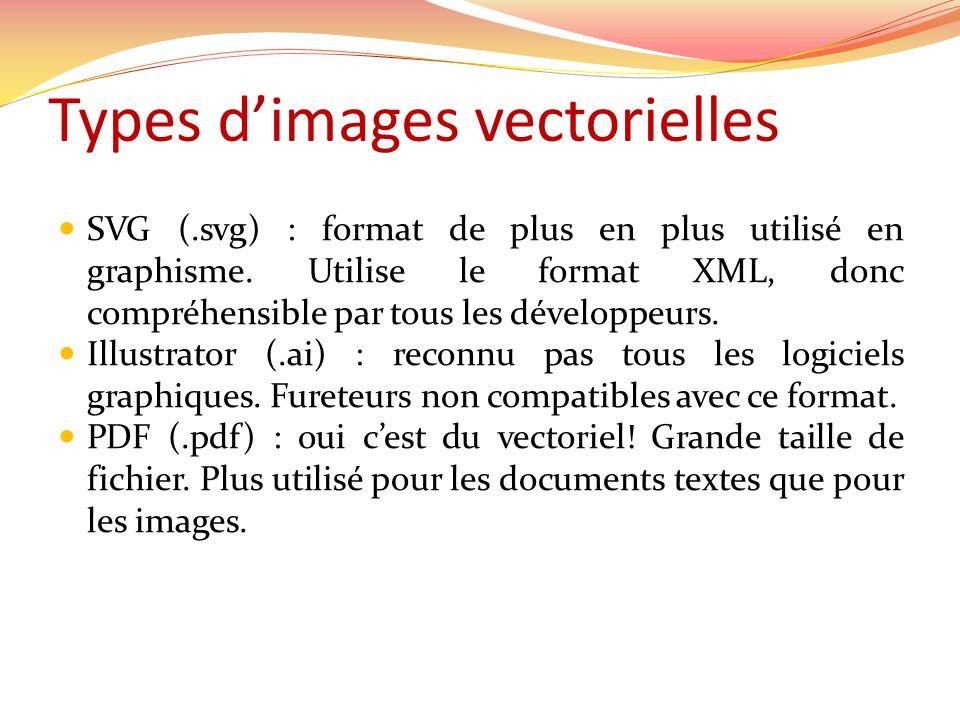 Types dimages vectorielles SVG (.svg) : format de plus en plus utilisé en graphisme. Utilise le format XML, donc compréhensible par tous les développe
