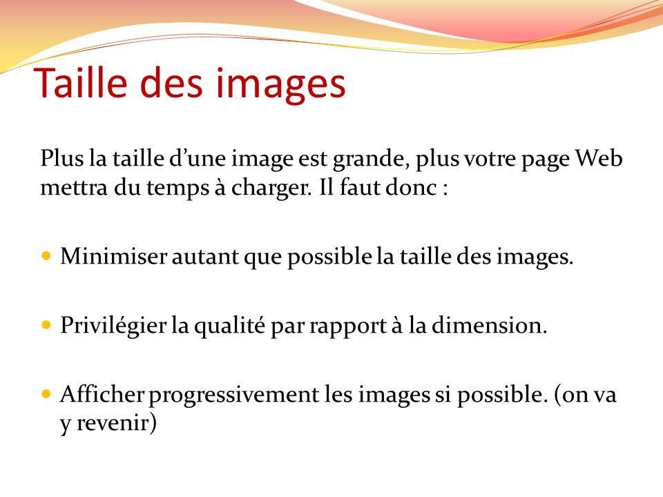 Taille des images Plus la taille dune image est grande, plus votre page Web mettra du temps à charger. Il faut donc : Minimiser autant que possible la