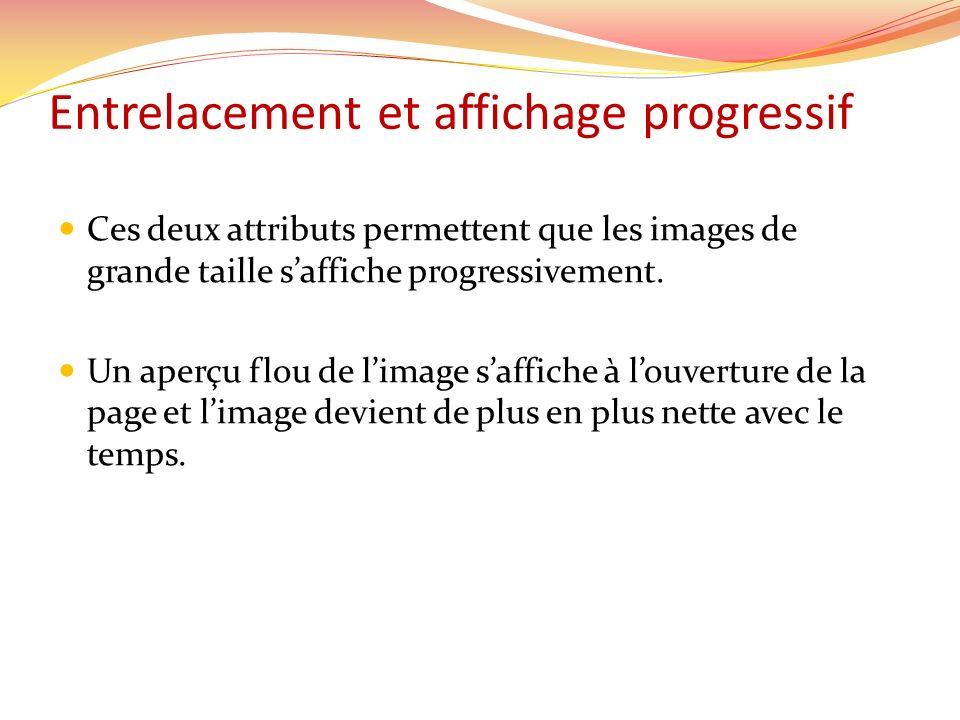 Entrelacement et affichage progressif Ces deux attributs permettent que les images de grande taille saffiche progressivement. Un aperçu flou de limage