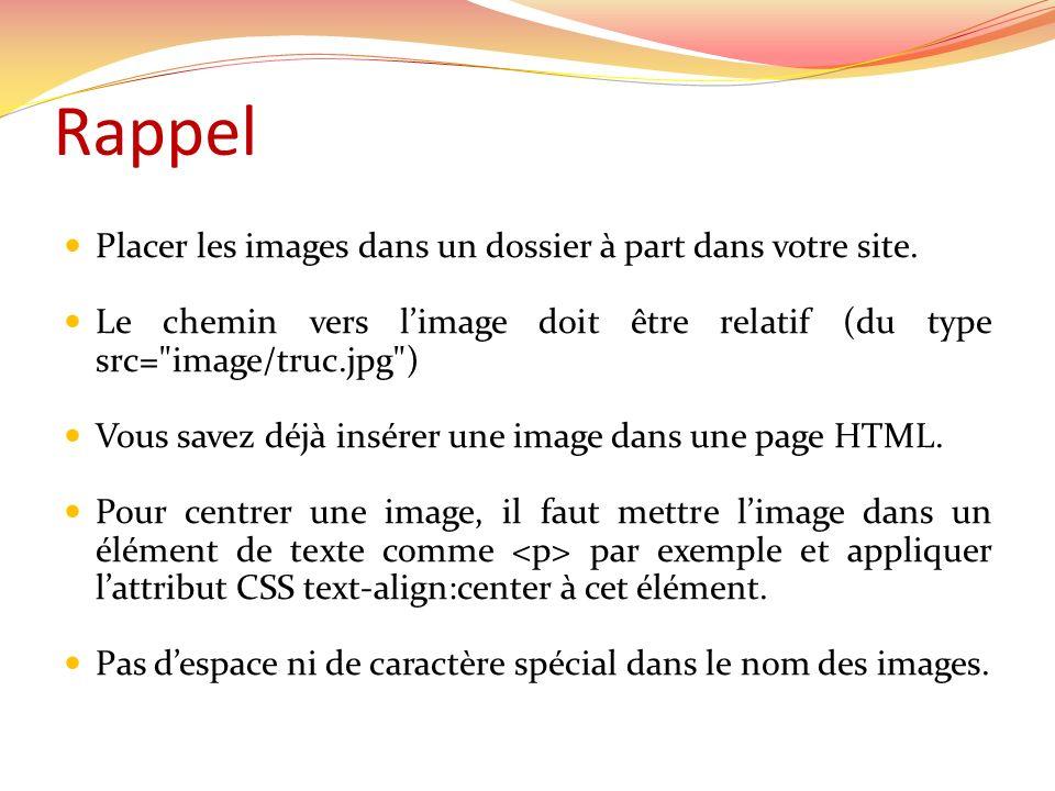 Rappel Placer les images dans un dossier à part dans votre site. Le chemin vers limage doit être relatif (du type src=