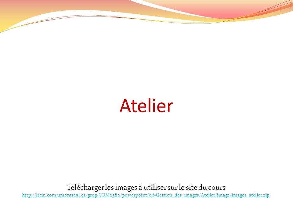 Atelier Télécharger les images à utiliser sur le site du cours http://lrcm.com.umontreal.ca/greg/COM2580/powerpoint/06-Gestion_des_images/Atelier/imag