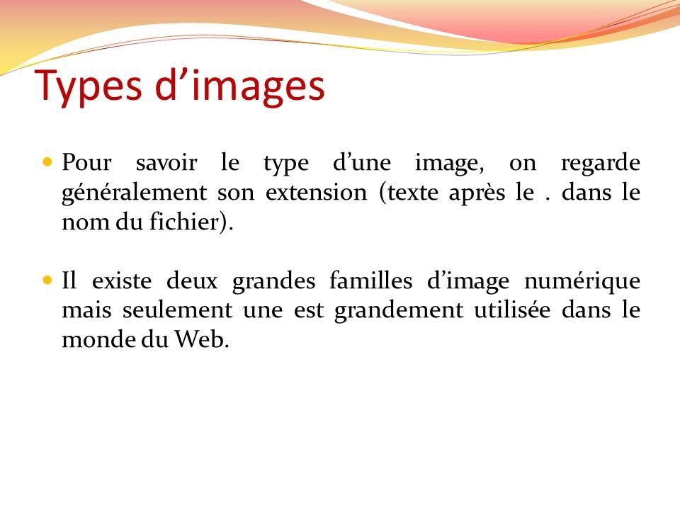 Types dimages Pour savoir le type dune image, on regarde généralement son extension (texte après le. dans le nom du fichier). Il existe deux grandes f