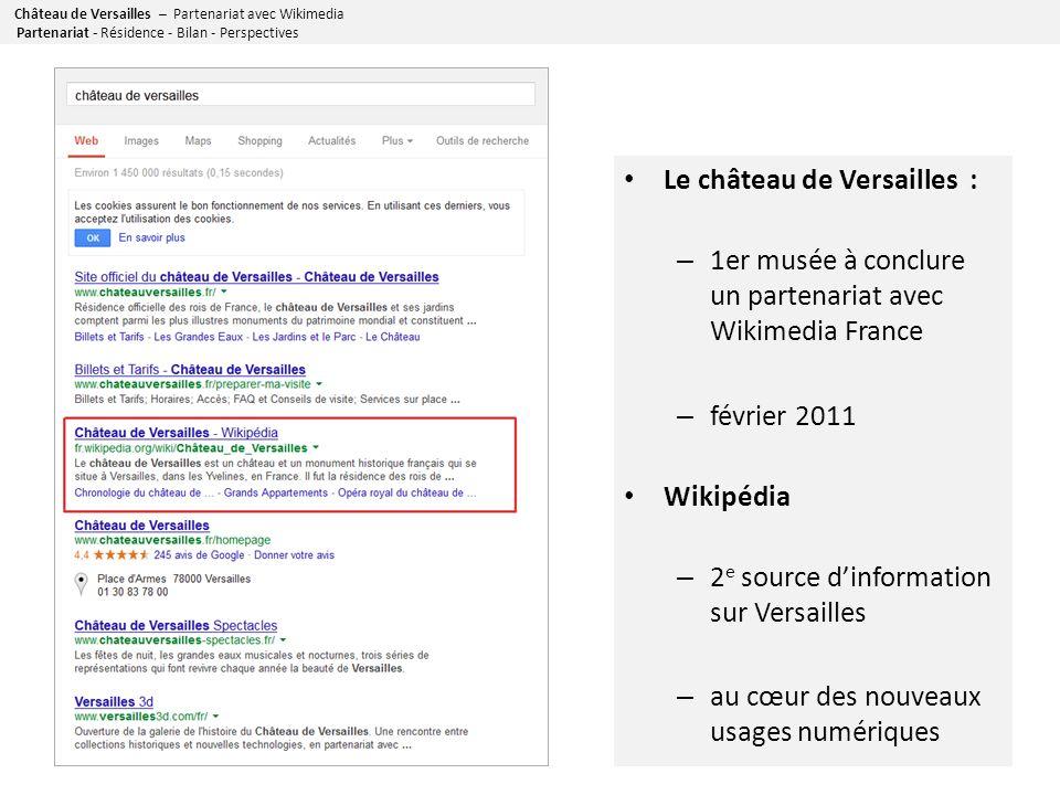 Château de Versailles – Partenariat avec Wikimedia Le château de Versailles : – 1er musée à conclure un partenariat avec Wikimedia France – février 2011 Wikipédia – 2 e source dinformation sur Versailles – au cœur des nouveaux usages numériques Partenariat - Résidence - Bilan - Perspectives