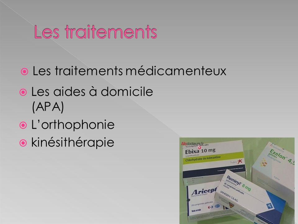 Les traitements médicamenteux Les aides à domicile (APA) Lorthophonie kinésithérapie