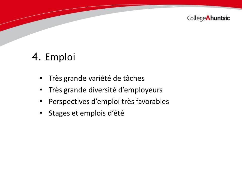 Date Très grande variété de tâches Très grande diversité demployeurs Perspectives demploi très favorables Stages et emplois dété 4. Emploi