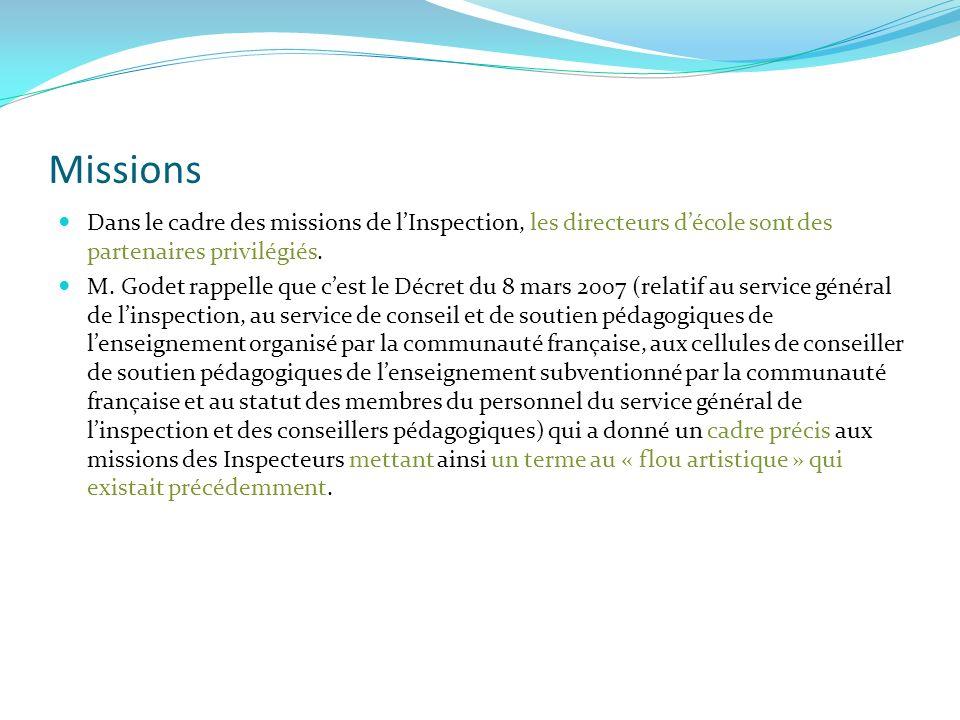 Ces missions sont en relation directe avec les spécificités de notre enseignement et le Décret « Missions » Pilotage Formations en cours de Carrière Evaluation Externe Socle de Compétences Inspection