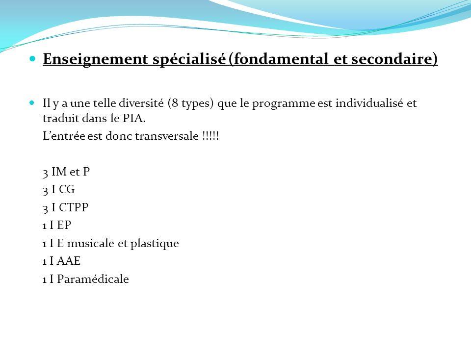Enseignement spécialisé (fondamental et secondaire) Il y a une telle diversité (8 types) que le programme est individualisé et traduit dans le PIA. Le