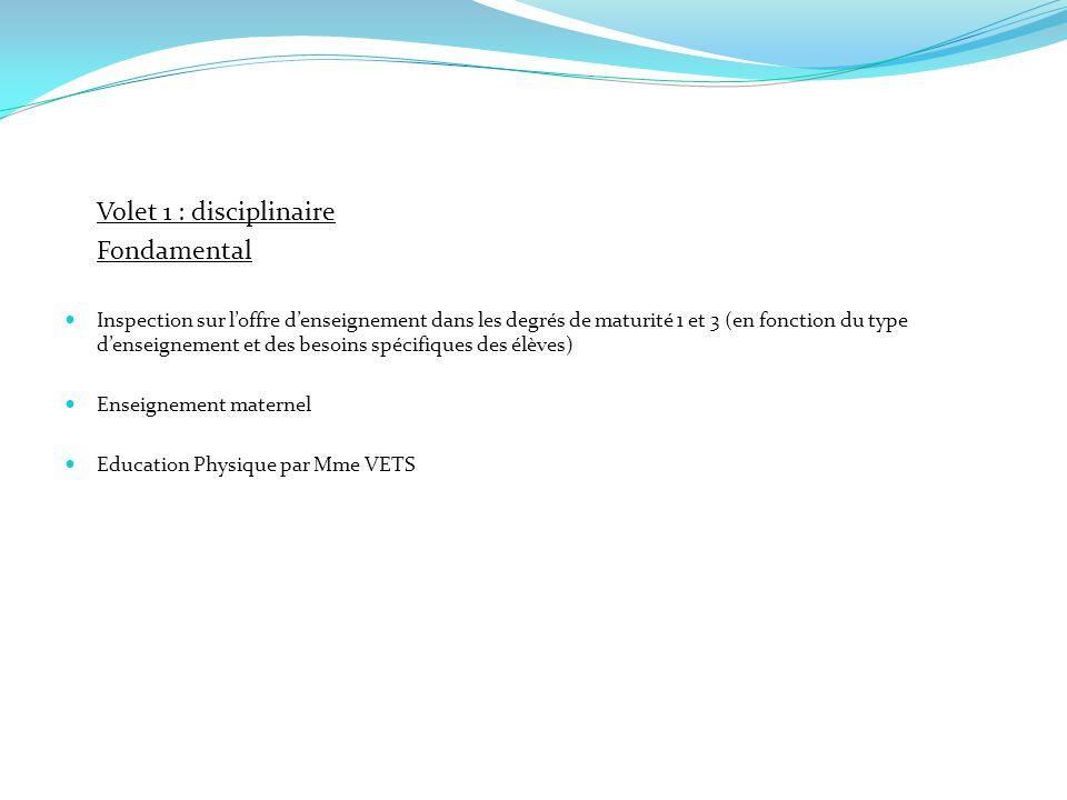 Volet 1 : disciplinaire Fondamental Inspection sur loffre denseignement dans les degrés de maturité 1 et 3 (en fonction du type denseignement et des b