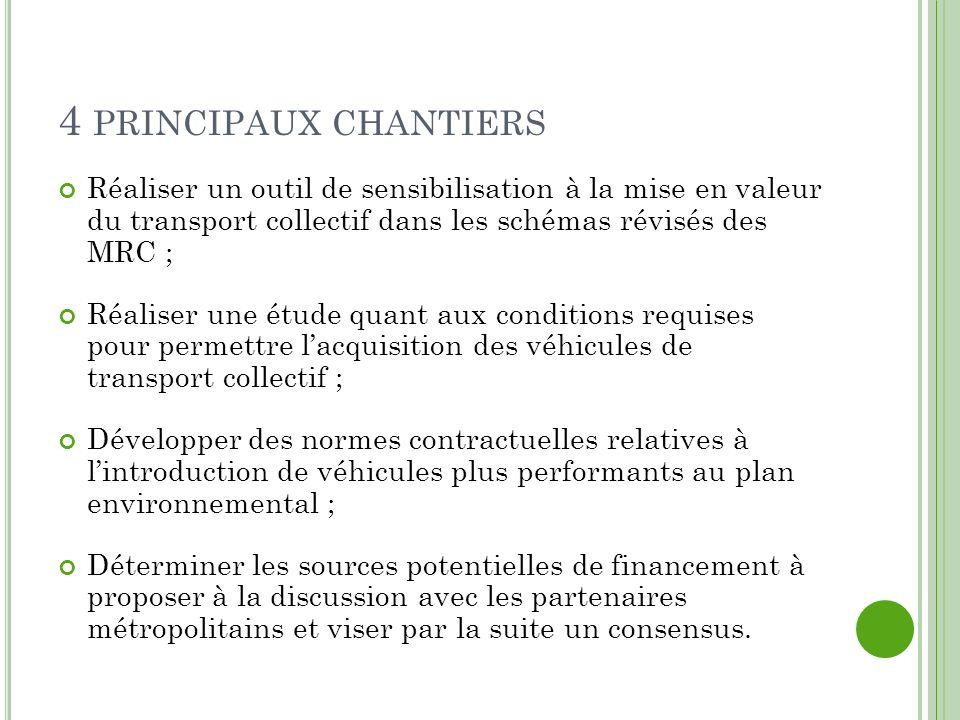 4 PRINCIPAUX CHANTIERS Réaliser un outil de sensibilisation à la mise en valeur du transport collectif dans les schémas révisés des MRC ; Réaliser une