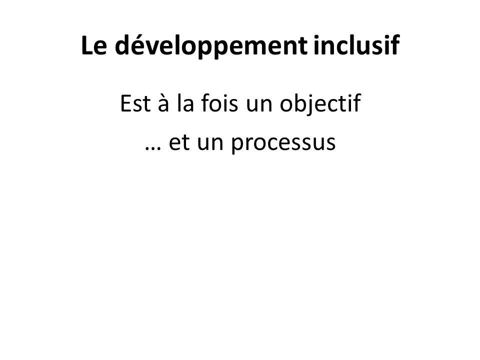 Le développement inclusif Est à la fois un objectif … et un processus